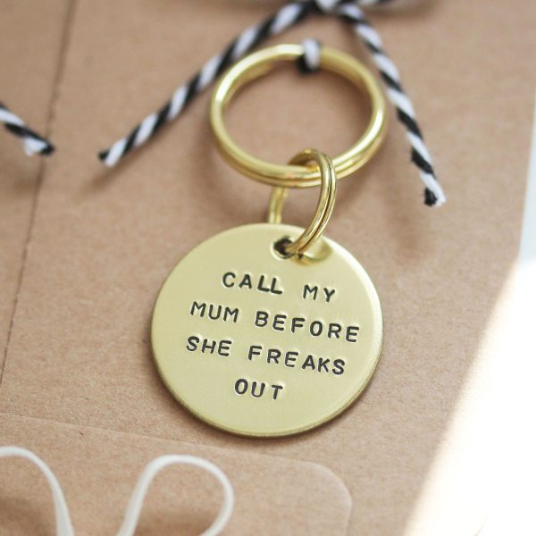 call my mum before she freaks out gold id tag