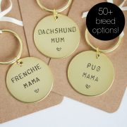 Personalised breed mama keyring. Dog lover gift